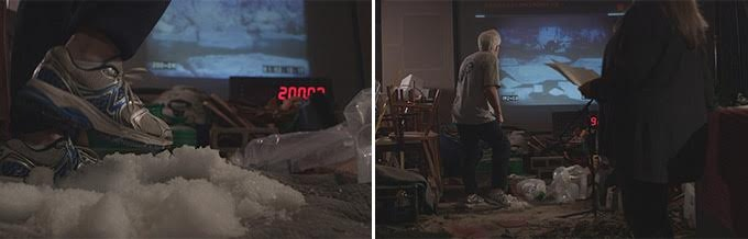 L: Foley artist John Roesch recording the sound of crunching ice; R: the same image, pulled back. NOTE: this was for Way Down East, an original silent film (starring Lillian Gish), to which sound was added (fascinating) alongside the original video.