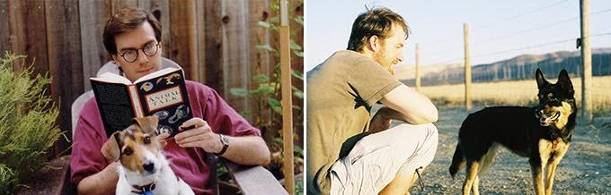 L: Gary Rydstrom with his dog Buster; R: Erik Aadahl and his dog Freja.