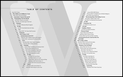 Table of Contents (click for a readable image)