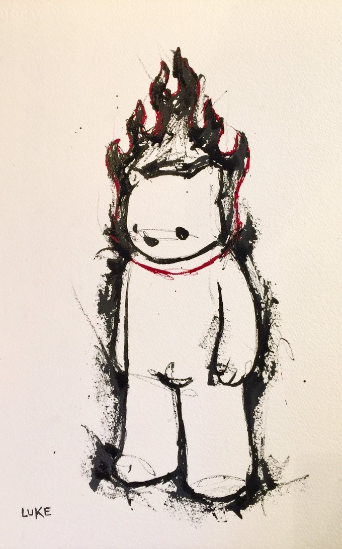 Luke Chueh Combustion Bear Ink Drawing