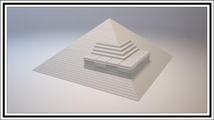 Pyramid mixed with Mayan & Stair