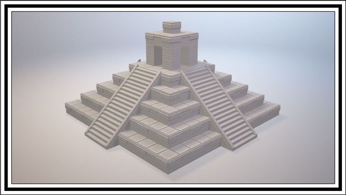 Mayan Ziggurat with Temple Top and Stairs