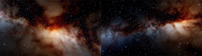 Left: Close to the galactic core | Right: Further away