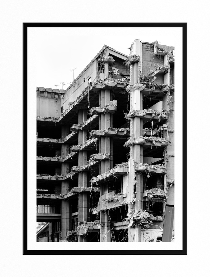Tom Bird - Library Demolition A4 (Hand Numbered & Signed). Printed on 260GSM Fine Art Satin. Hand Mounted with Wooden Frame. Made In The Jewellery Quarter. Check out in hi-res: https://ibb.co/kXtzTa