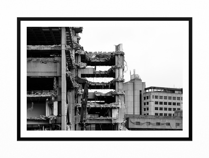 Tom Bird - Library Demolition A3 (Hand Numbered & Signed). Printed on 260GSM Fine Art Satin Paper. Hand Mounted & Framed In The Jewellery Quarter. Check out in hi-res: https://ibb.co/jw8cEF