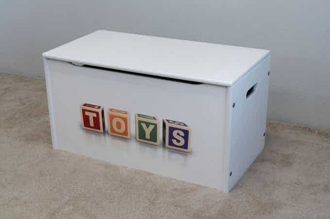 """Stock Design: """"TOYS"""" in blocks on our Toy Storage Box (shown in white)."""