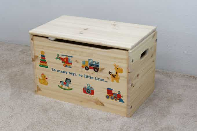 """Stock Design: """"So Many Toys"""" on our Keepsake Toy Box, shown in natural."""