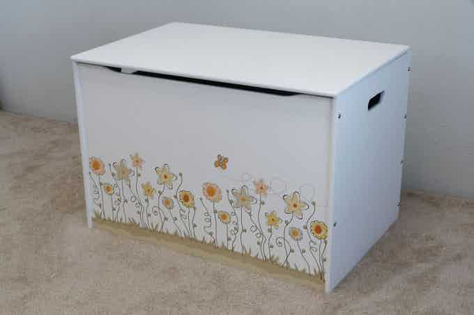 """Stock Design: """"Field of Flowers,"""" shown on our Big Toy Box in white."""