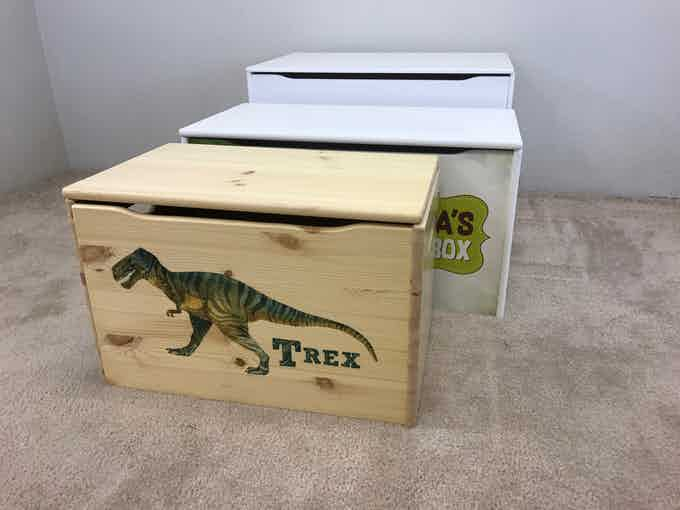 """Scale: In the foreground is our Keepsake Toy Box, about the same height and depth as the Toy Storage Box behind it, but about 6"""" shorter. The Big Toy Box against the wall is about the same length as the Toy Storage Box, but deeper and taller."""
