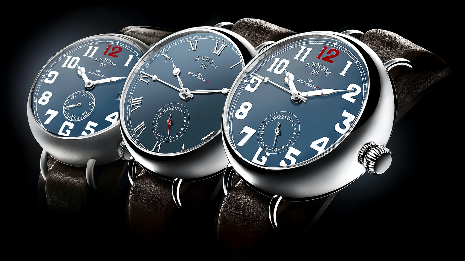 "Introducing the ""26"" BLEU HORIZON, a creative automatic timepieces inspired by the Great War. Hand assembled in France."