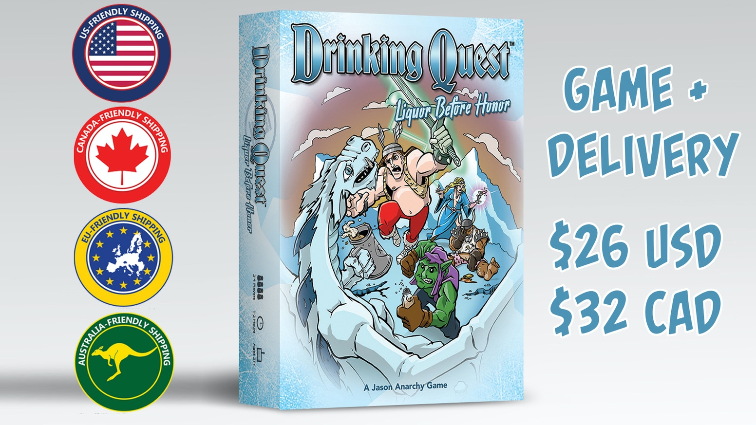 "Drinking Quest is a light Tabletop RPG & a light Drinking Game. ""Liquor Before Honor"" is perfect for both new and returning players!"