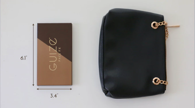 ...thank goodness this sleek palette would easily fit in her pouch! Good bye bulky bags and messy piles of makeup!