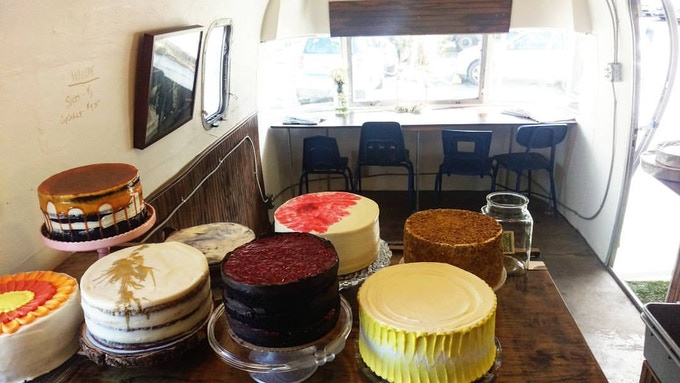 Saturday cake spread inside the shop