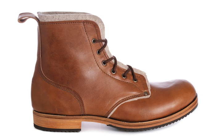 Higger Tor Boot in tan coloured Horween Double Horse Front leather with 100% wool upholstery felt lining in Alabaster
