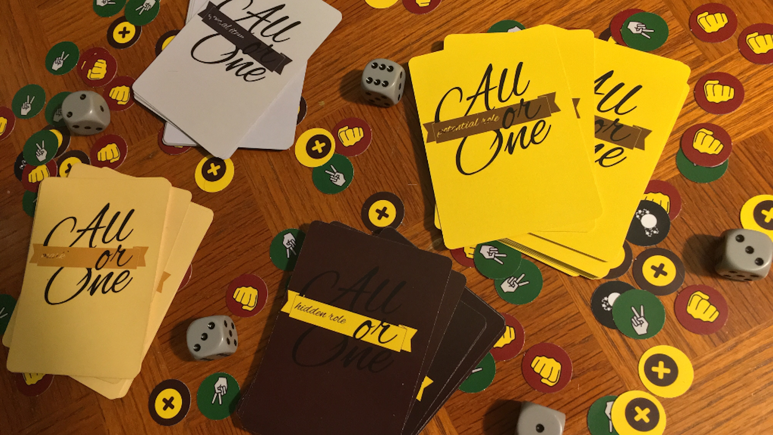 All or One is a hidden role card game wherein players are trapped in a room and tasked with agreeing to sacrifice one among themselves.