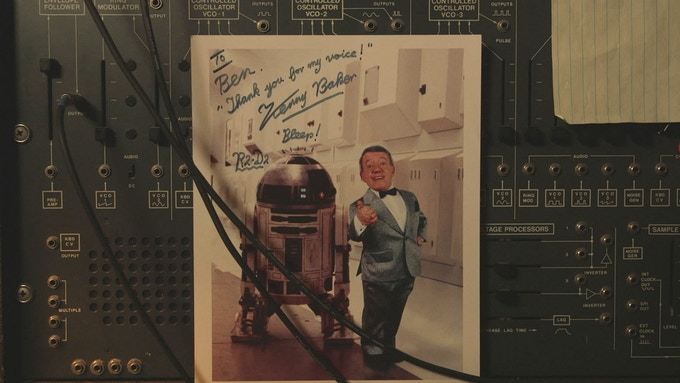 Ben Burtt's office: Ben created the voice of R2D2 and the late great Kenny Baker played the character. (Ben used a semi-modular synthesizer - an ARP 2600 - to create R2D2's voice, combining keyboard and voice input.)