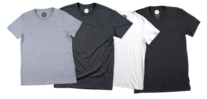 Core Colors: Tri-Blend Heather Grey, Tri-Blend Heather Black, 100% Cotton White, 100% Cotton Black
