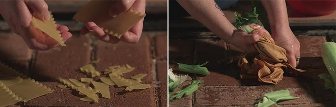 "L: The sounds of breaking pasta, often used as the sound for cracking human bones (Alyson Moore, Foley Artist);R: cracking celery, used as the sound of human ""innards"" being yanked out (see William Wallace's death scene in Braveheart)."