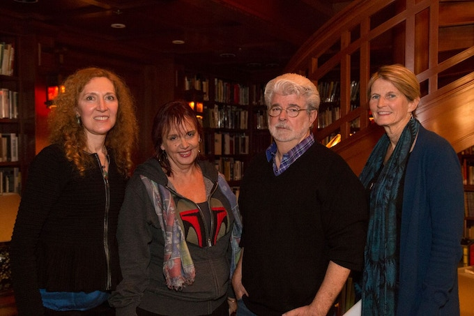 Project Creators (L to R) Karen, Bobette, and Midge, with icon of icons George Lucas
