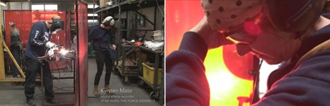 Kyrsten Mate records a blow-torch in her husband's machine shop in Oakland, CA; the sound used for Kylo Ren's lightsaber for STAR WARS VII: THE FORCE AWAKENS