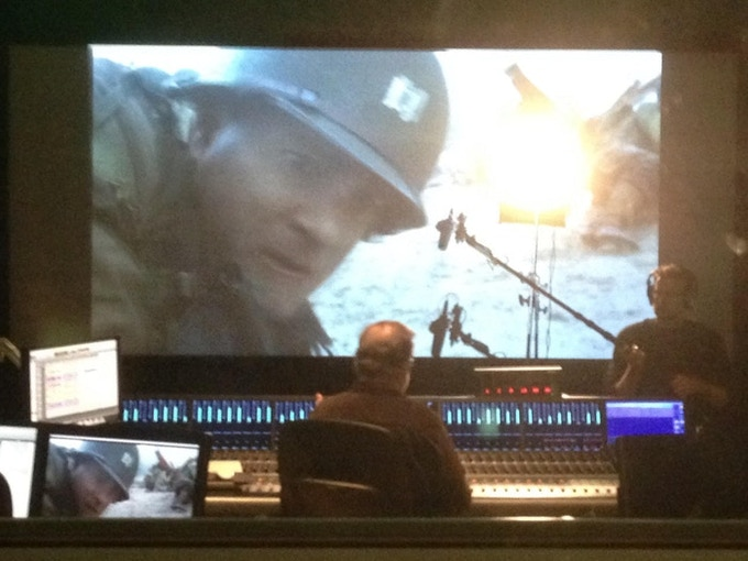 For our production interview with Gary Rydstrom, he sat at his mix board to show us pre-mixes of Saving Pvt. Ryan. David Turner, our editor and production sound recordist, is on boom.
