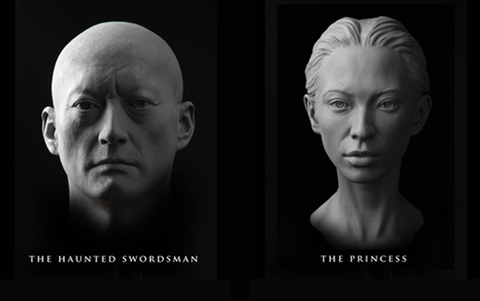 """The Swordsman (Sculpted by Arjen Tuiten) and The Princess (Sculpted by Mitch Devane). These castings (which measure 6"""" - 7"""" from chin to top of head) will be cast in black onyx resin or available in an aged bronze or verdigris patina."""