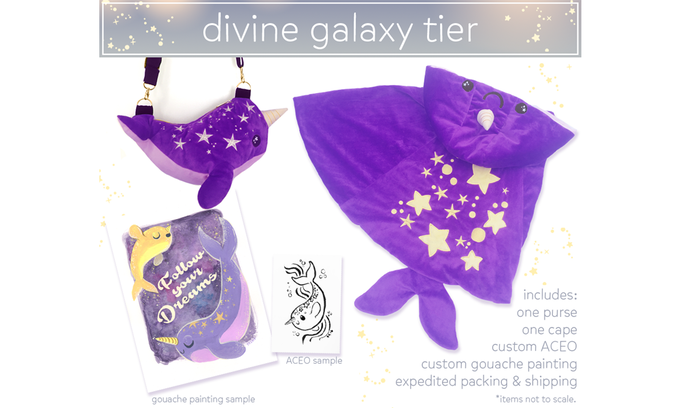 $399. LIMITED TIER. This tier includes a purse, a cape, a custom ACEO and a gouache painting, created just for you. Also, your rewards will be shipped out first!