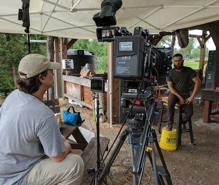 Director Layton Blaylock interviews Community First! Village blacksmith Evan Wilson.
