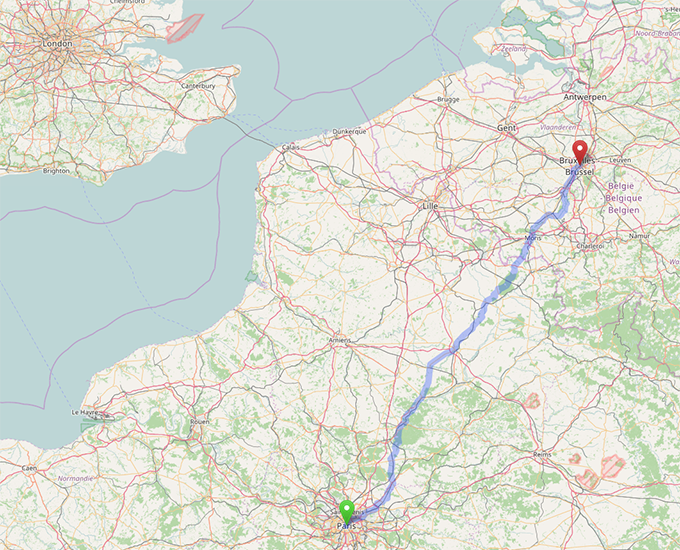 Cycle from Paris to Brussels on two charges and a cost of 14¢!