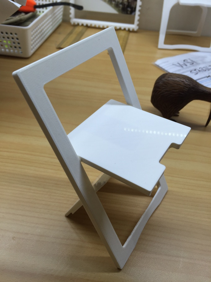 Early 3D printed version of the Snap Jack chair
