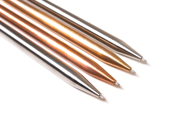 Left to right: titanium 0.5 mm, copper 0.9 mm, bronze 0.7 mm, stainless steel 0.7 mm