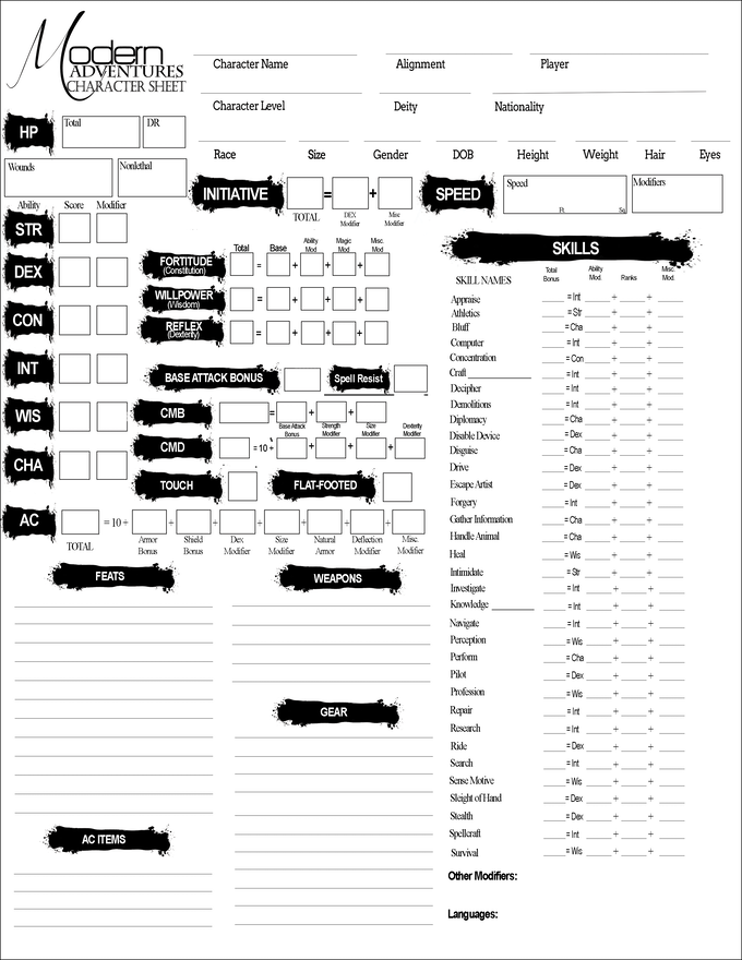 Character Sheet for Modern Adventures