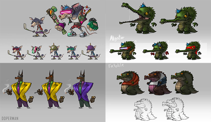 Rats, Crocs, Dopermans and Fatodiles concept art.