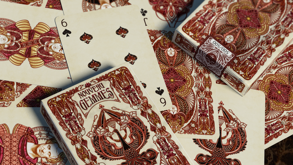 Last deck of the Nouveau Series: Art Nouveau jewelry inspired playing cards; limited edition of 500 units. Short 15-day campaign