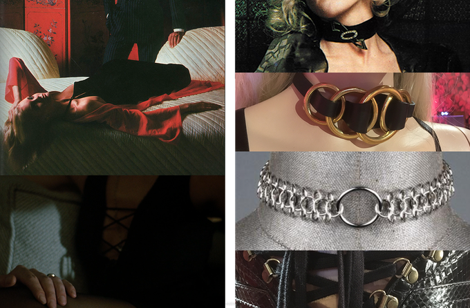 Upper–left, very strong power–play in a 1970s Dormeuil advert. Lower–left, Britt Ekland's front–laced top from Get Carter. Motifs found in the world of BDSM will be coded into our costume design.