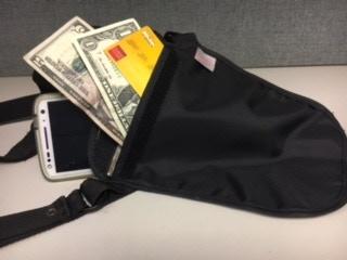 Outside pocket for cash and credit cards