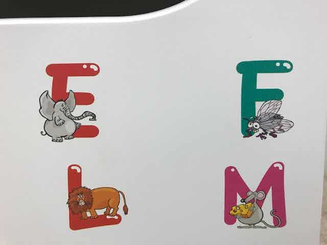 """We have been incredibly impressed with the digital flatbed printer's graphic quality, displayed beautifully here in this close-up of the """"Alphabet Animals"""" design. Look at the meticulous detail on these tiny creatures: they are only about 2"""" tall."""