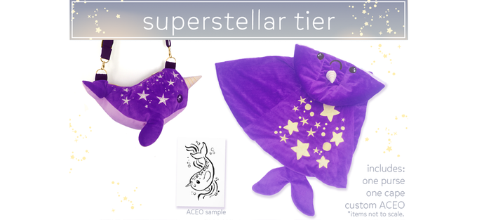 $179. LIMITED TIER. This tier includes one purse, one cape and a Starhwhal-themed ACEO, drawn just for you!