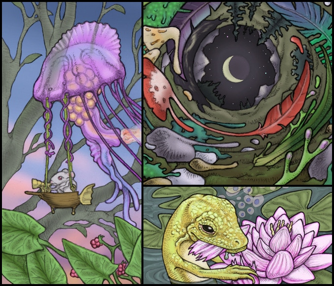Clockwise: a jellyship, an illusory landscape, and a beguiling lotus