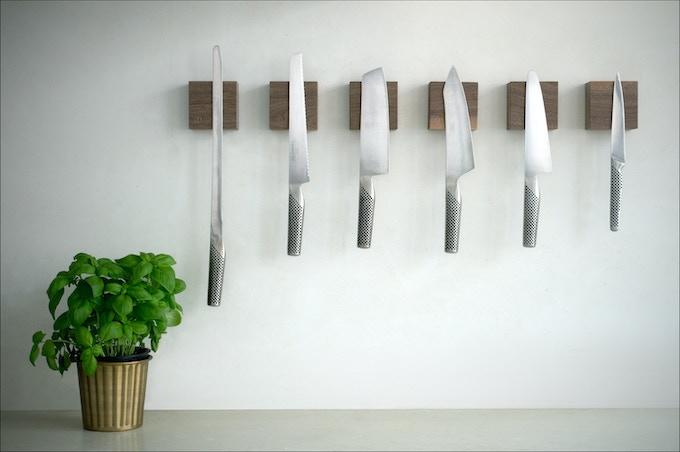 A kitchen arrangement with Walnut.