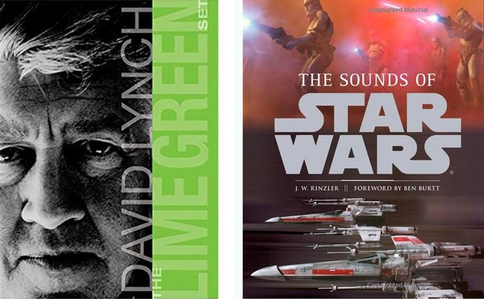L: the Lime Green set by David Lynch, hand-signed, one-of-a-kind, available at the $750 level; R: the Sounds of Star Wars book, w attached sound module, exterior speaker, headphone jack, hand-signed by Ben Burtt, available at the $300 level.