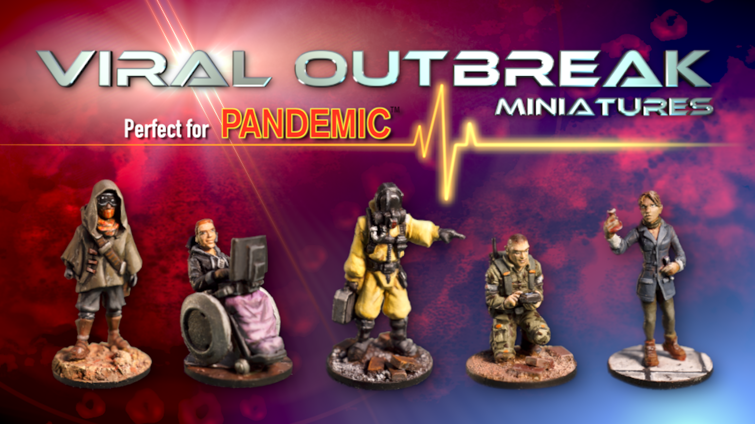 A collection of 28mm outbreak themed plastic miniatures, perfect for Pandemic™.