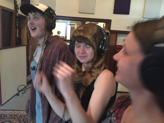 Minda Lacy, Larrea Cottingham and Lindsay Mercer grooving out in the studio