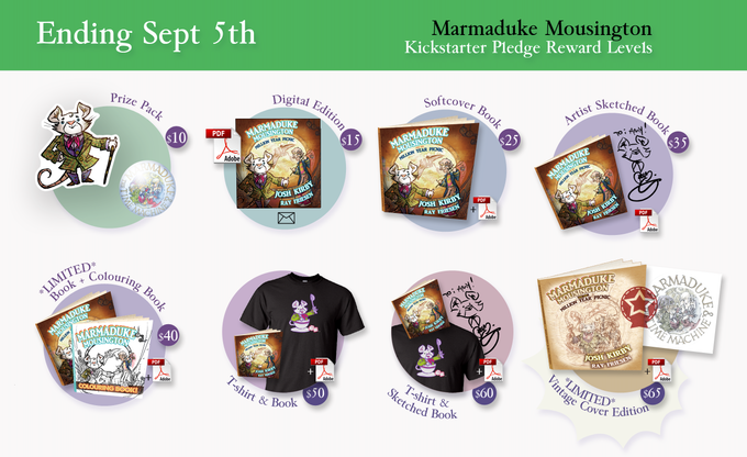 Our first and second tier rewards, the book itself, and various extra goodies are available!