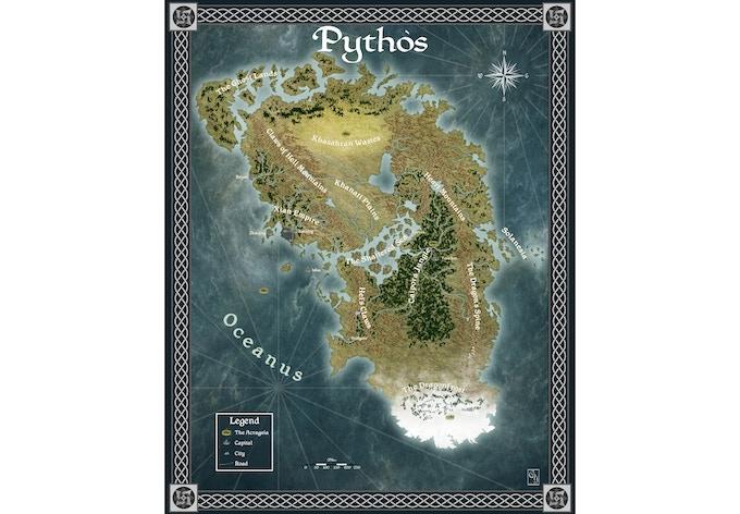 Pythos Worldmap by Cornelia Yoder, http://www.corneliayoder.com