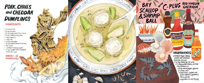 detail of illustrations by Felicia Liang, Tom Bingham, Flo Leung