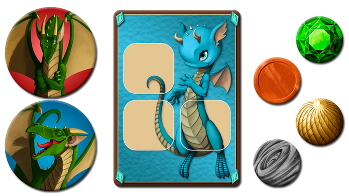 Example of tokens and baby dragon card.