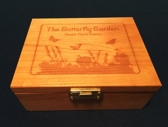 Engraved Wood Butterfly Garden Collector's Box