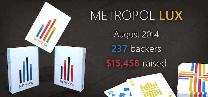 Metropol LUX playing cards series - 237 backers - $15,458 - August 2014