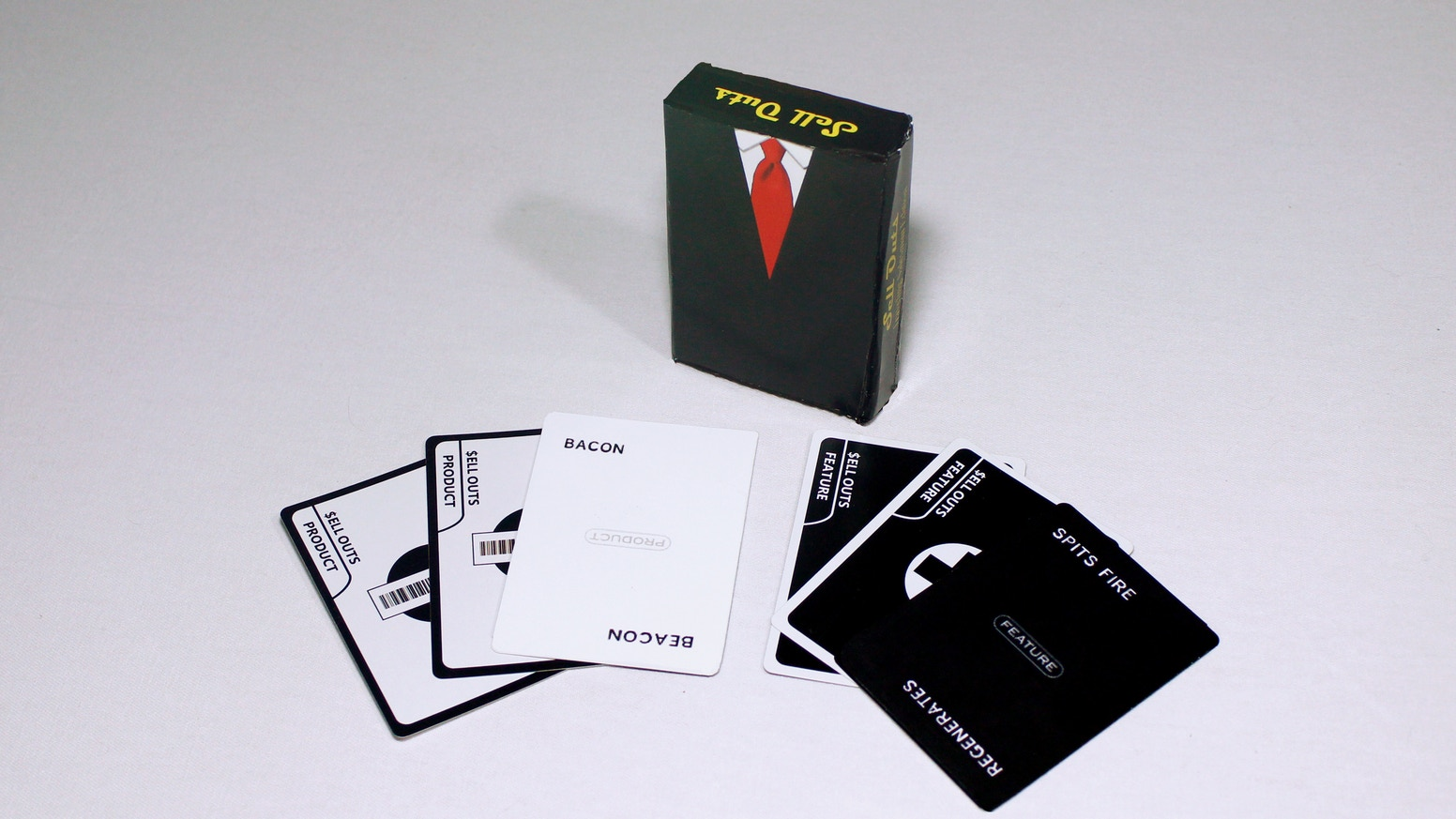 The party game of portable pitches! Sell your hand of strange and wonderful products to your friends!